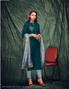 Teal Color Rama Silk Kurti With Dupatta And Inner