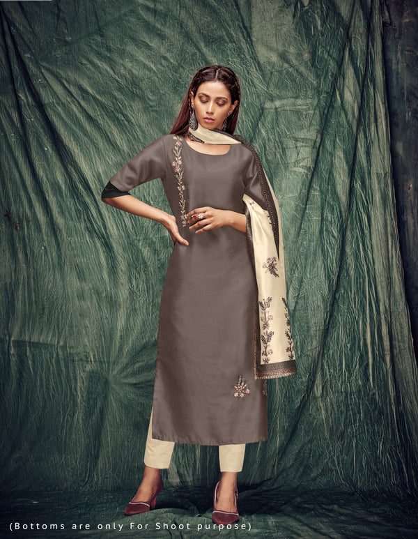 Gray Color Silk Kurti With Dupatta And Inner