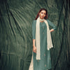 Light Sea Green Color Venice Silk Kurti With Dupatta And Inner