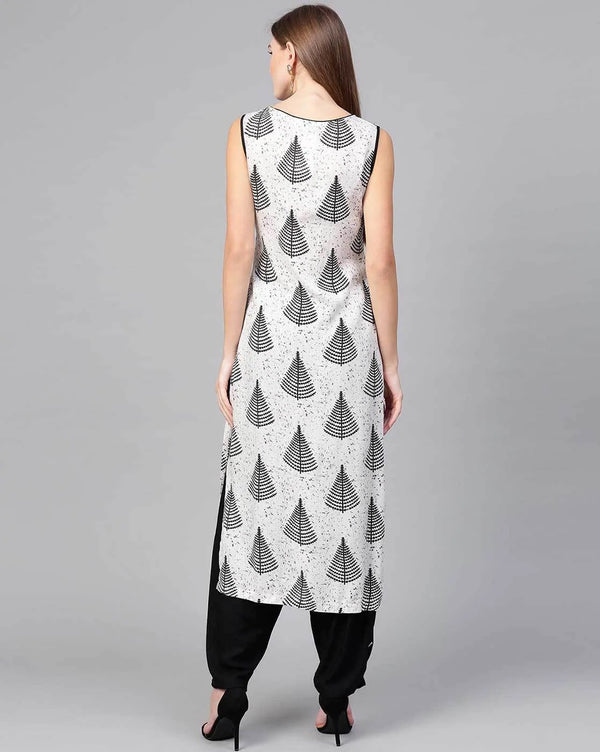 Black And White Printed Front Slit Kurta With Dhoti Bottom