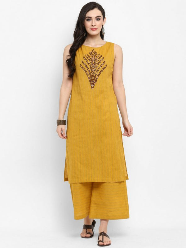 Yellow Embroidered Kurta With Bottom And Jacket