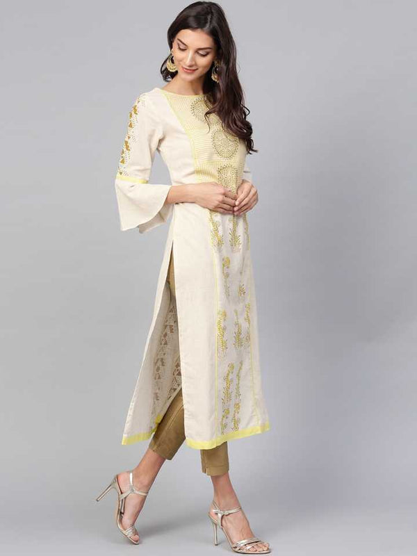 White Printed Kurta With Stylised Bell Sleeves