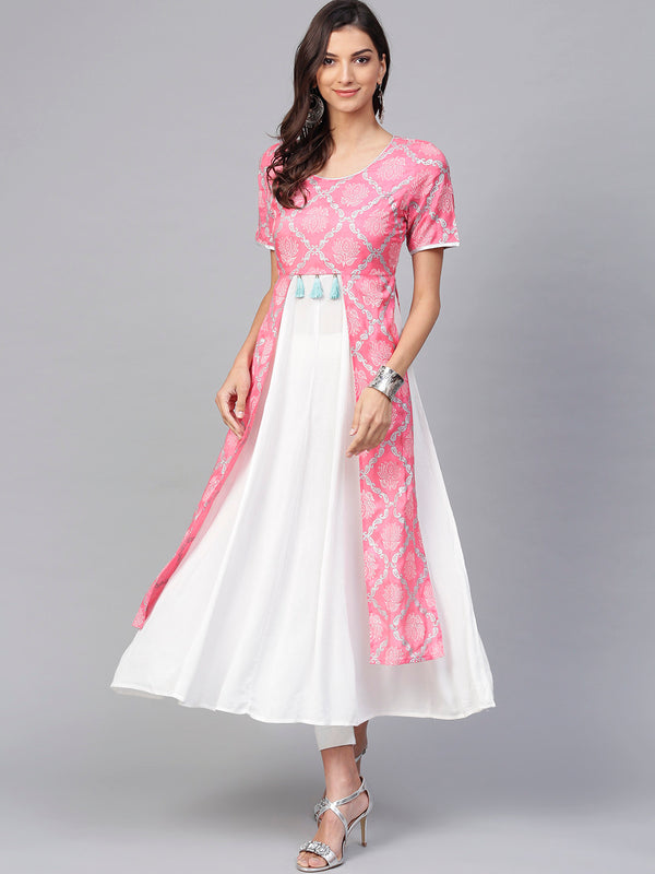 Pink And White Printed Anarkali Kurta With Multiple Slits