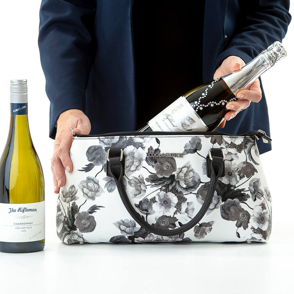 Barbara Cool Clutch (Black & White Flower) Cooler bags - Cool Clutch cooler bag handbag insulated wine lunch handbags