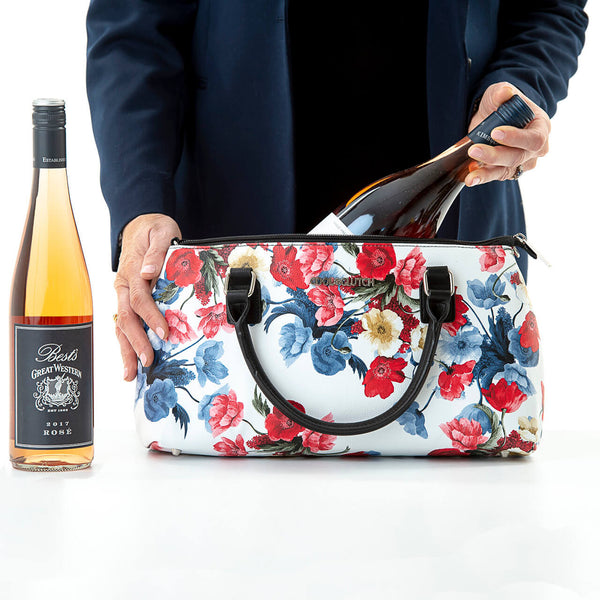 Poppy Cool Clutch (Red & Blue Flowers) Cooler bags - Cool Clutch cooler bag handbag insulated wine lunch handbags
