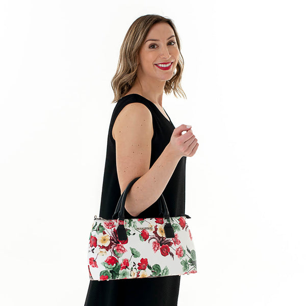 Rosemary Cool Clutch (Green & Red Flowers) Cooler bags - Cool Clutch cooler bag handbag insulated wine lunch handbags