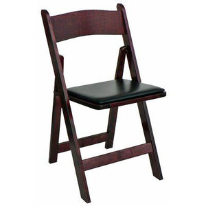 MAHOGANY  WOOD PADDED CHAIR