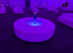 "Led BIG Round Table  D34""x34""xH17"" - (Changing Colors)"