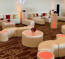 Load image into Gallery viewer, SET 4 LED Cocktail Tables & 1 Tufted Round BANQUETTE / BOURNE