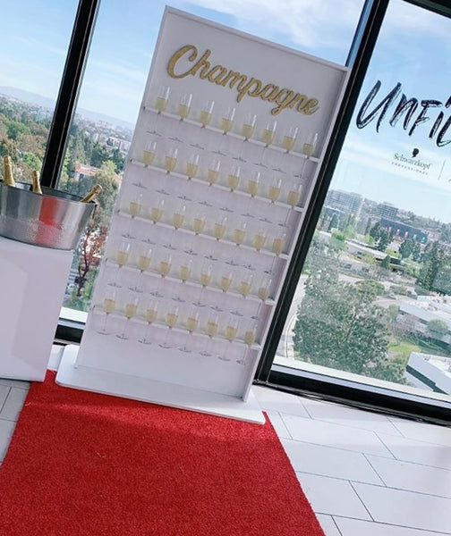CHAMPAGNE WALL w/40 Glasses & CART