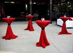 "ONLY  RED Tablecloth 132"" and BLACK tie"
