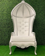 Load image into Gallery viewer, VICTORIAN BALLOON Chair - White&Silver / Tufted BRIDE & GROOM Chair / THRONE  / XV Throne / Sweet16 Throne