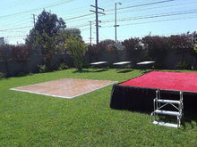 "Load image into Gallery viewer, STAGE  W24'xD16'xH24"" Black Skirt and Red Carpet on Stage and 3 Step Riser"