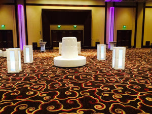 SET 4 LED Cocktail Tables & 1 Tufted Round BANQUETTE / BOURNE