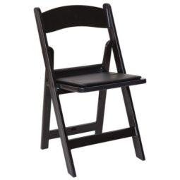 BLACK WOOD PADDED CHAIR
