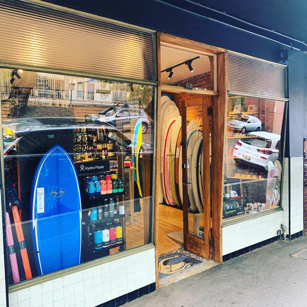 Exterior looking in at Melbourne Surfboard Shop in Newport