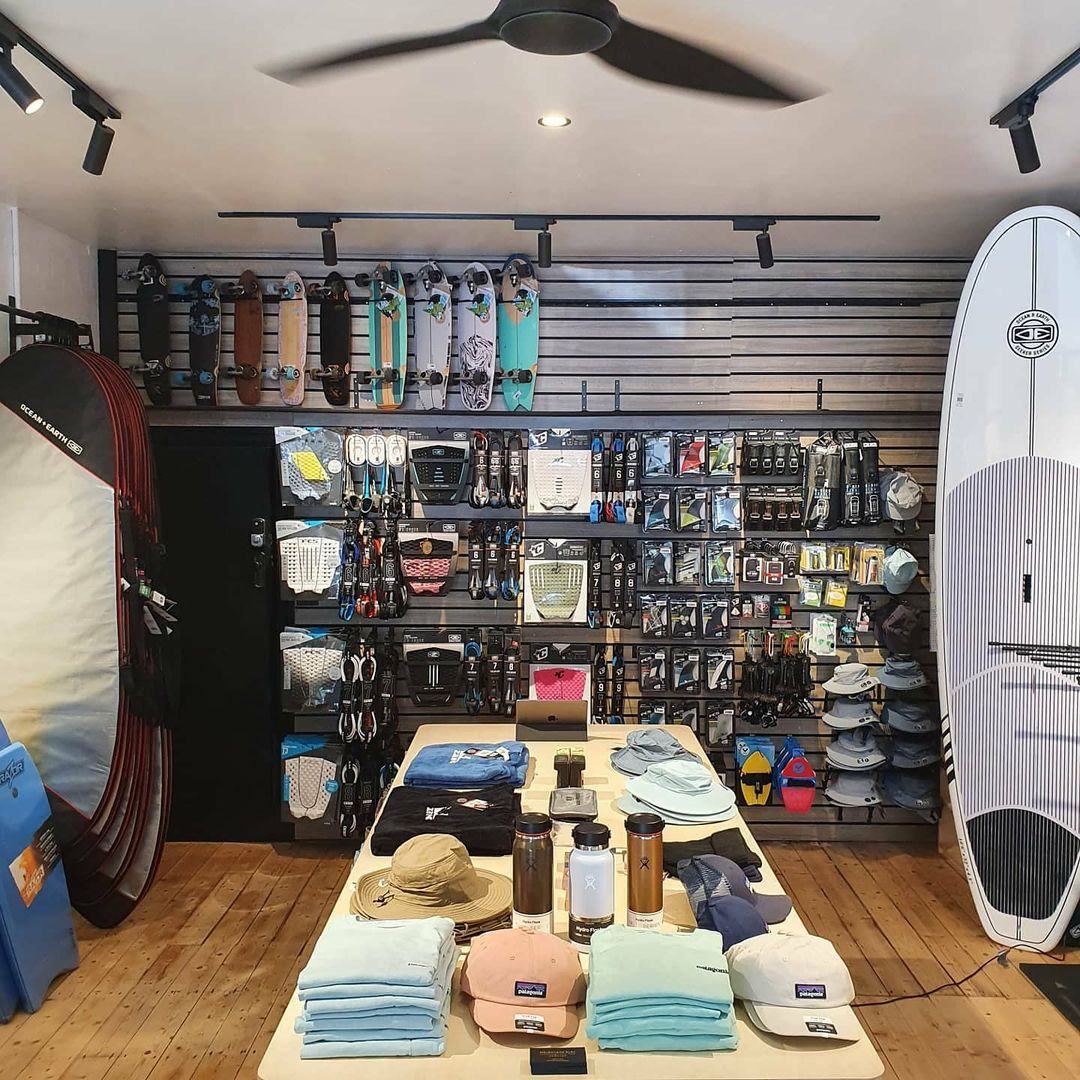 Showing the stocked room at Melbourne Surfboards Shop in Newport
