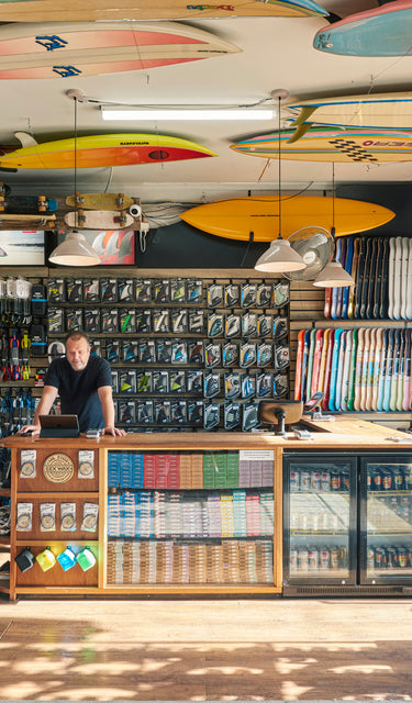 Melbourne Surfboard Shop - Interior / Surfboards / Surf Wax / Leash / Leg Ropes / FCS Fins / Skateboards / Skate Trucks / Sunglasses / Zak Surfboards / Thornbury / Newport / Vending Machine
