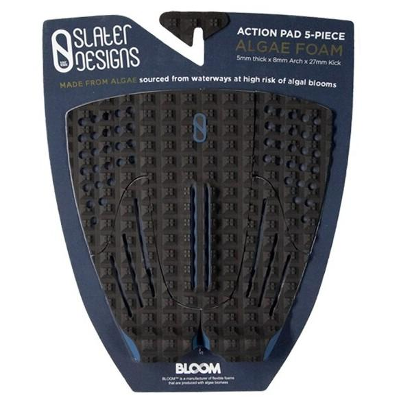 Slater Designs 5 Piece Action Traction Pad Surfboard Tailpads Slater Designs Black/Blue
