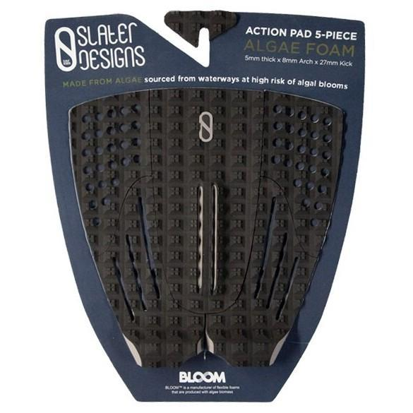 Slater Designs 5 Piece Action Traction Pad Surfboard Tailpads Slater Designs Black/Grey