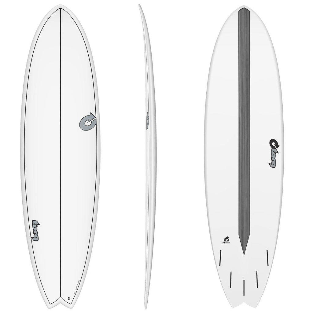 Torq Mod Fun CS 7'2 Surfboards Torq White + Carbon Strip