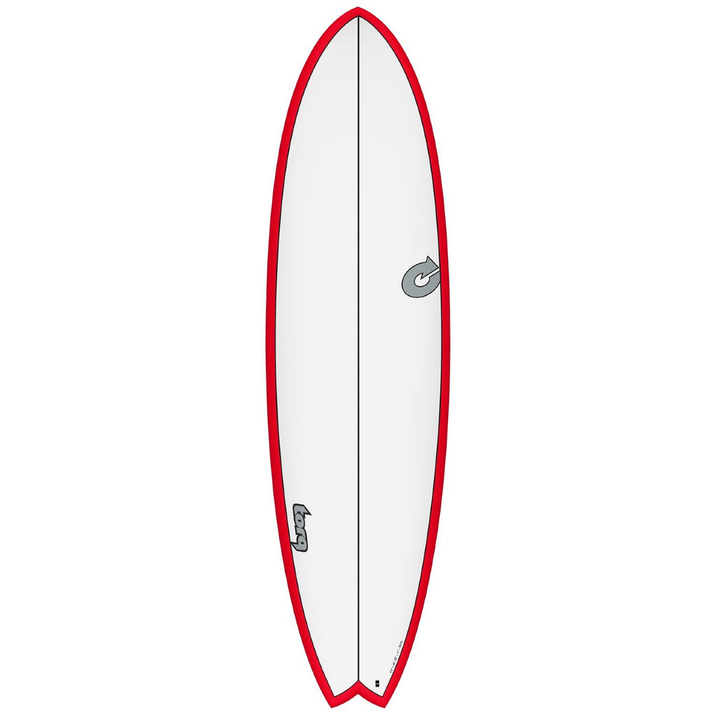 Torq Mod Fun CS 7'2 Surfboards Torq White + Red + Carbon Strip