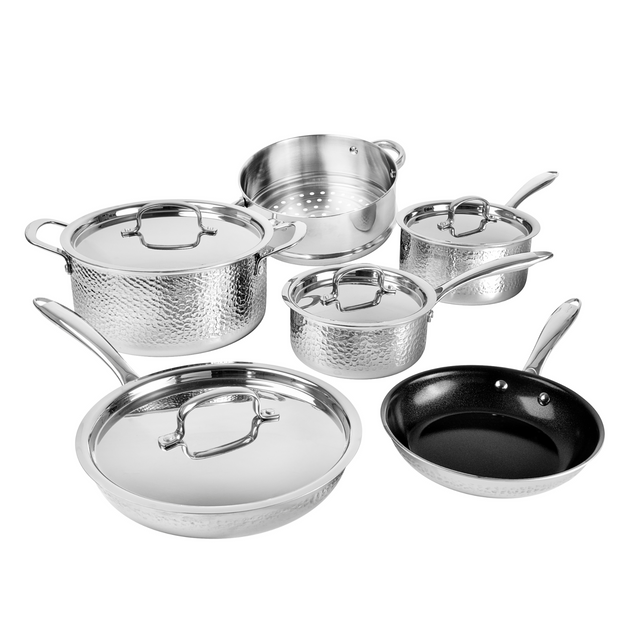 Get it Together 10 Piece Set- Hammered Stainless Steel