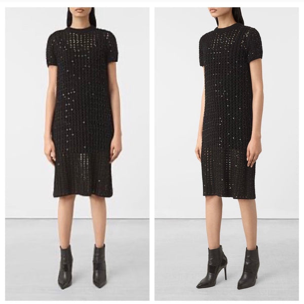 "all saints ""alyse"" caged knit sheer mesh dress"