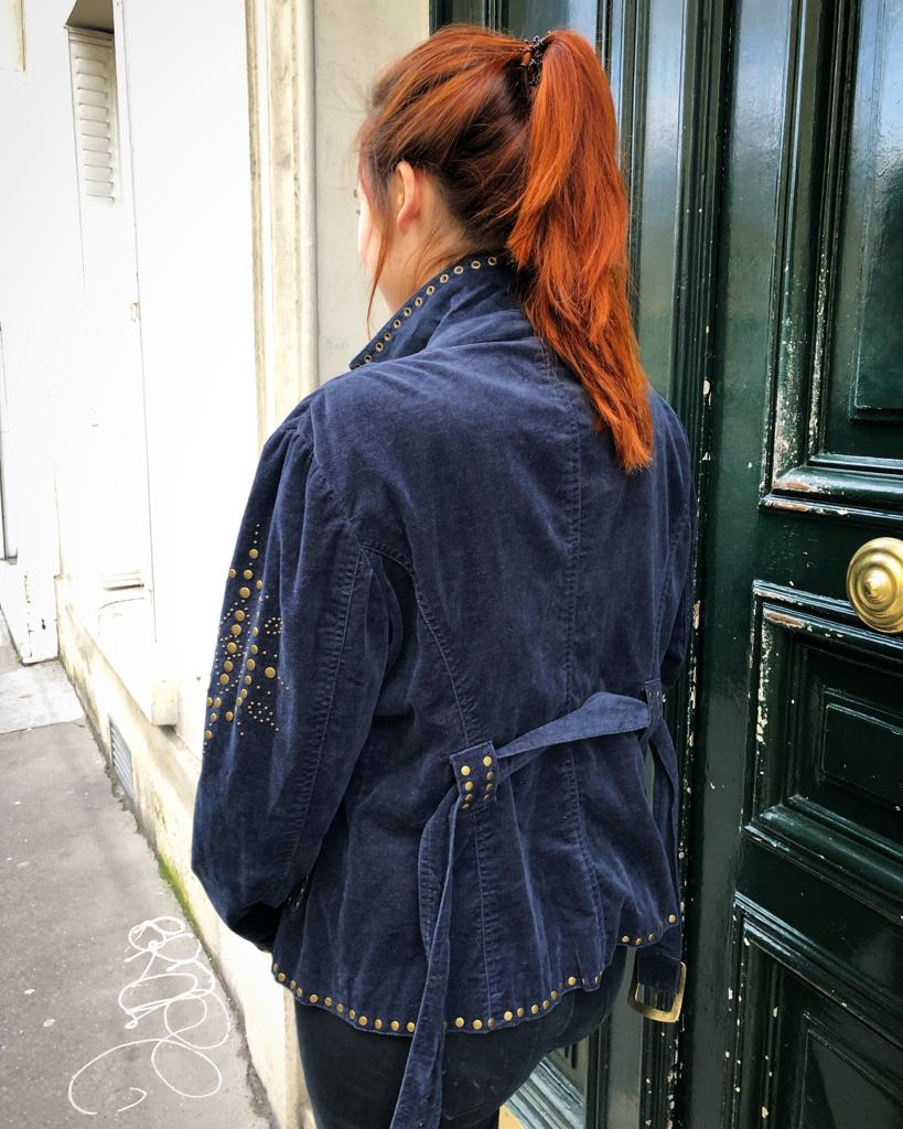 Veste velours cloutée