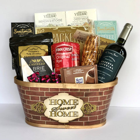 Shop housewarming gift baskets on Dazzle Basket. These made in Calgary house warming gift baskets will impress the new home owner.  We offer same day gift basket delivery