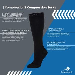 Compression Running Socks Women & Men (20 to 30 mmHg) Best Breathable Stocking for Athletic, Travel and Maternity Pregnancy