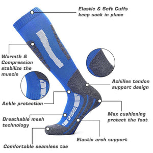 Ski Socks Merino Wool High Performance Warmth Snowboard Socks for Winter Outdoor Men's Women's Kids Blue