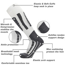 Load image into Gallery viewer, Ski Socks Merino Wool High Performance Warmth Snowboard Socks for Winter Outdoor Men's Women's Kids White