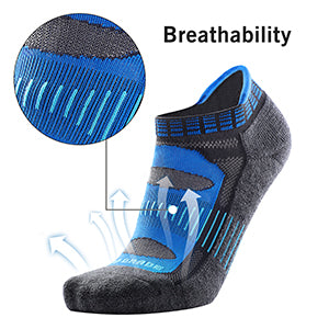 Wool Running Socks - Blister Resist No Show Low Cut Moisture Wicking Running Athletic Socks for Men and Women