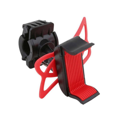 Support téléphone vélo pince silicone rouge