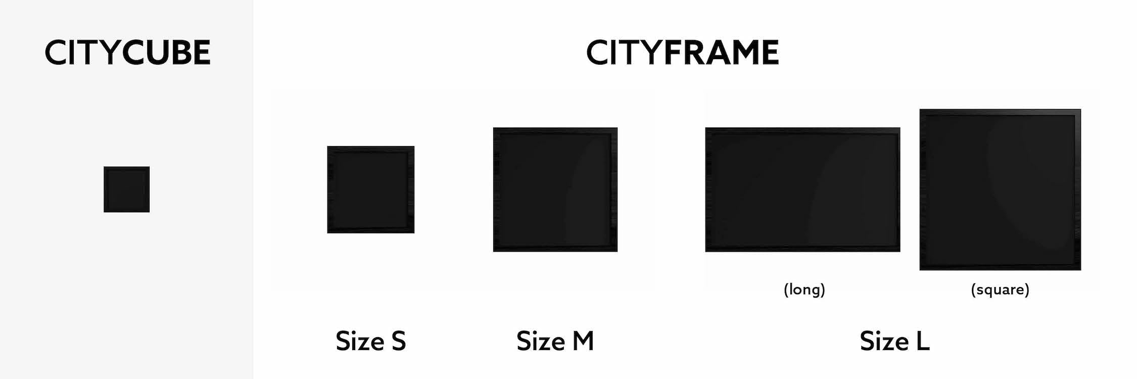 CityCube CityFrame Size Overview