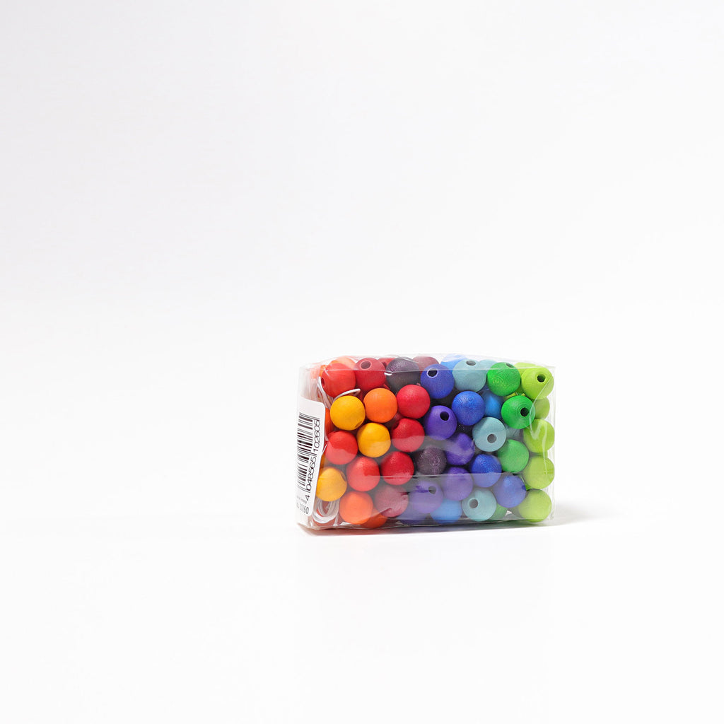 120 small Rainbow wooden beads - Toydler