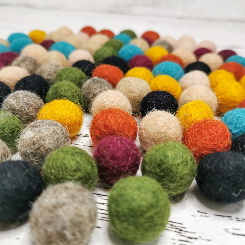 Earth Tone Wool Balls for Hundred Frame *Special* - Toydler