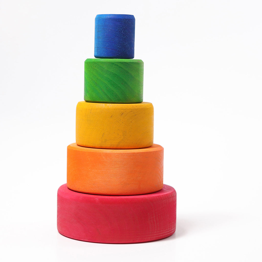 Grimm's Coloured Stacking Bowls outside red - Toydler