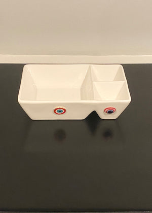 Porcelain Triple Bowl Square dish