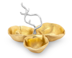 3 Gold bowls relish dish with Silver branch