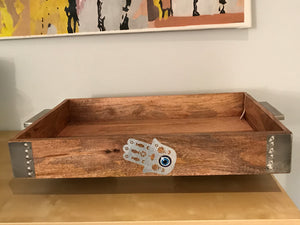 Natural wood tray with metal handles Ottman tray