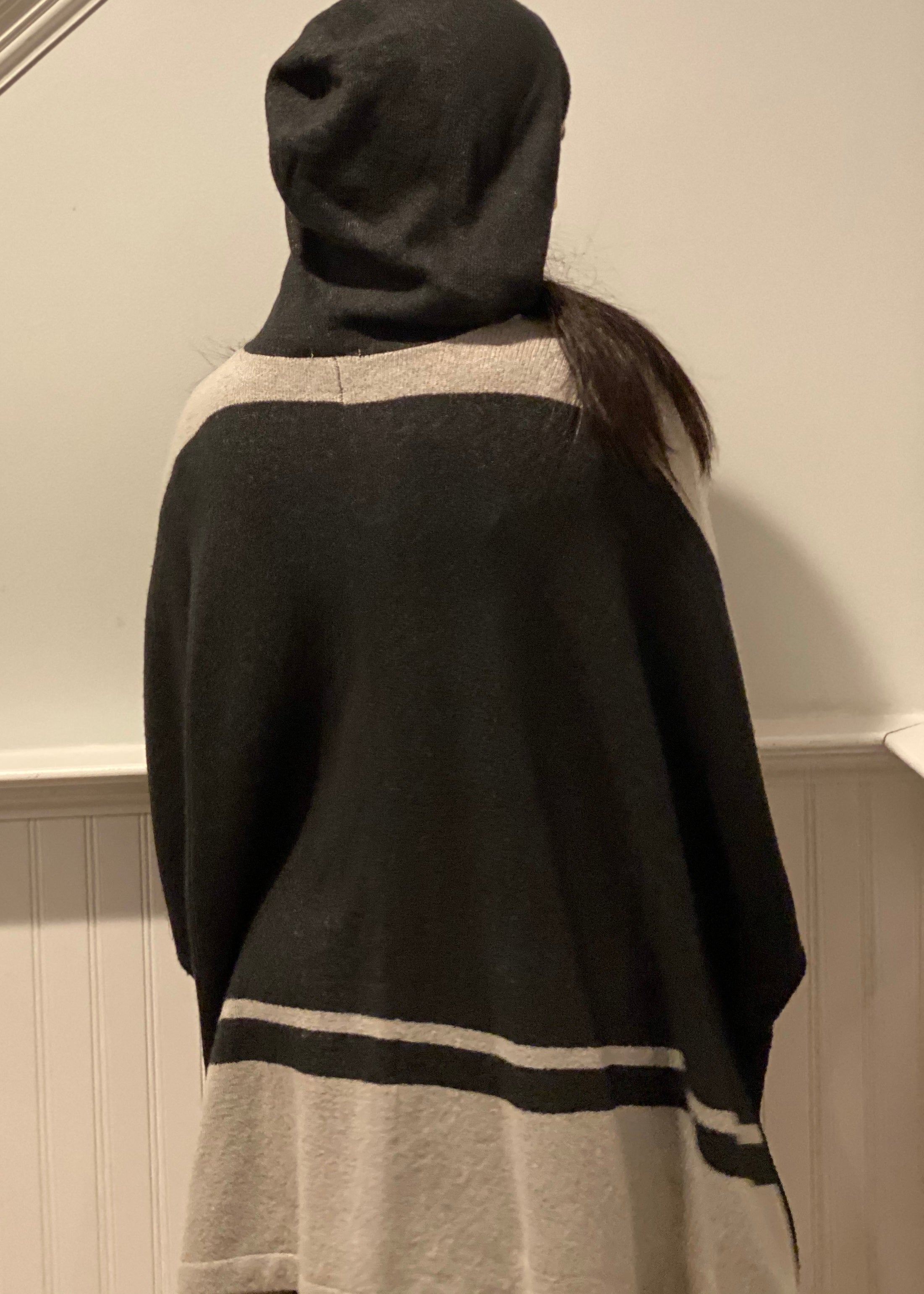Oversize Button Chunky Hooded Sweater Poncho Cardigan Cape