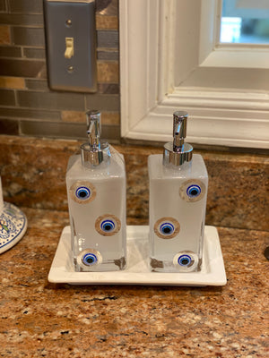 Glass soap/hand cream dispenser