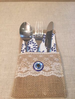 6 pcs Cutlery Pocket Burlap Lace Tableware Bag