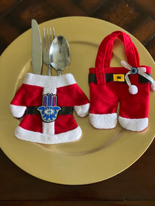 Christmas utensils holder, Santa & Miss Clause pockets set of 6