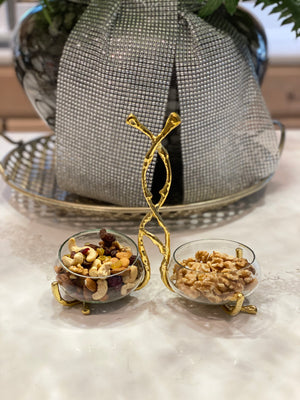 2 glass relish bowl with Gold Twig