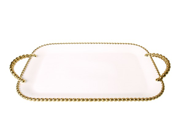 Porcelain White tray with Gold beaded boarders and handles