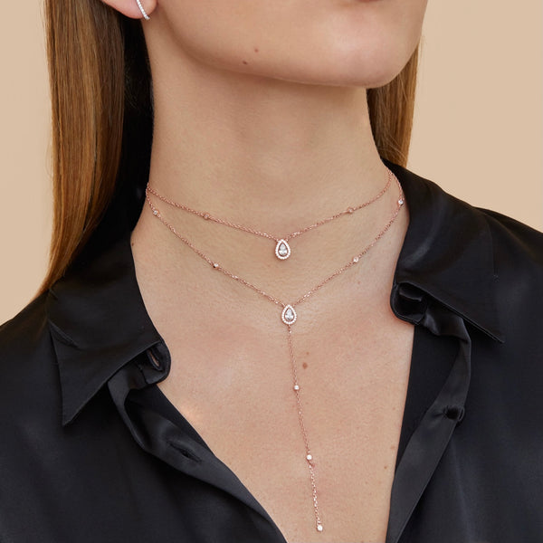 Sautoir double rang choker Sweet Pear - ROSE