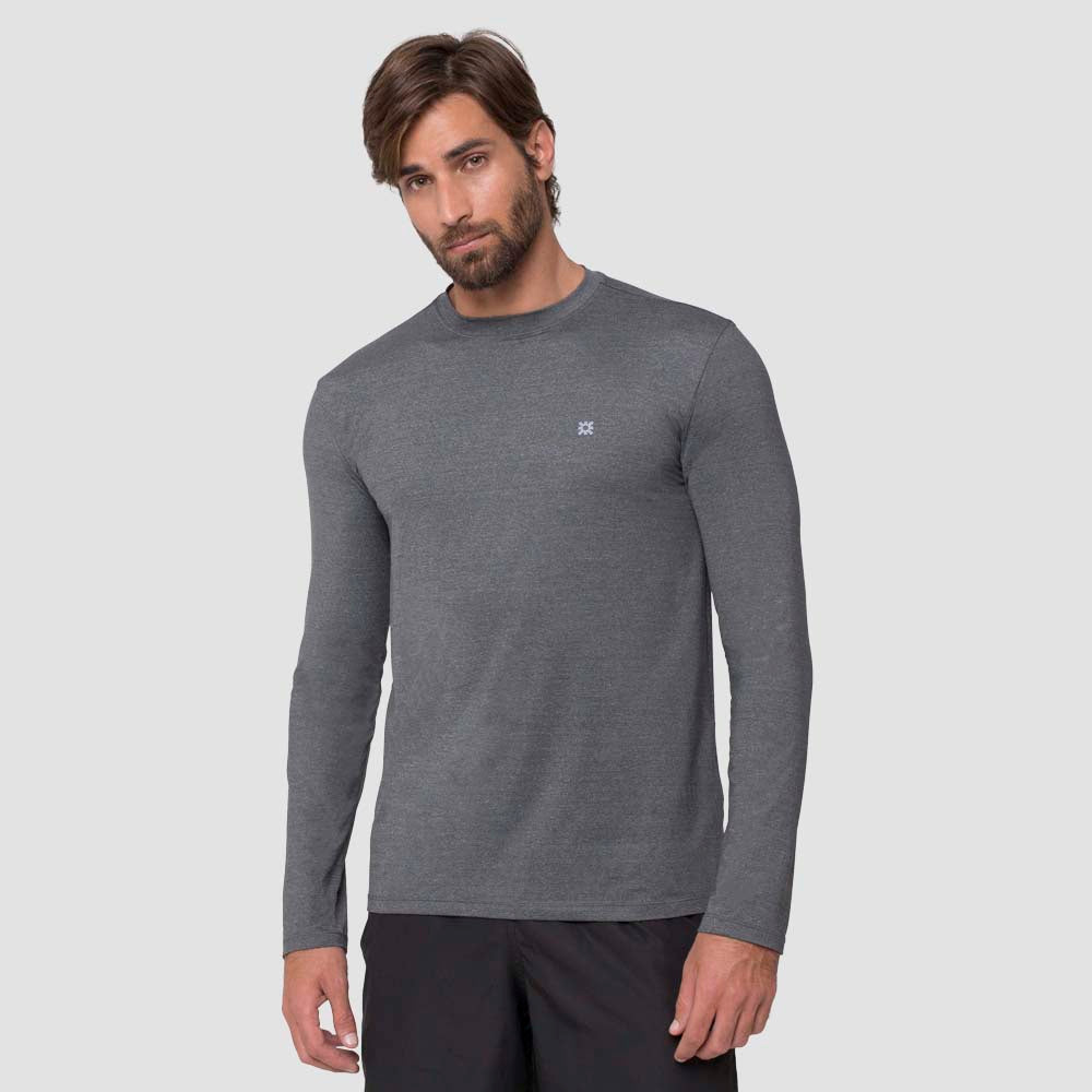Men Fpu50+ Uvpro Long Sleeve T-Shirt Melange Grey Uv